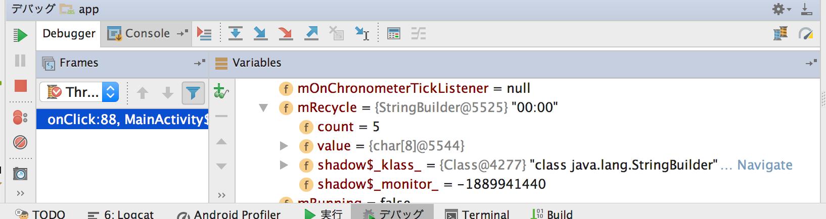 【Mac・Android Studio】ストップウォッチを作ってみる その11〜Chronometer修正
