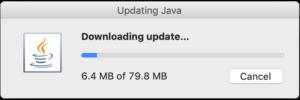 Javaバージョンアップダウンロード中