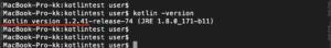 Mac Kotlinバージョンアップ バージョン確認