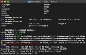 Mac Kotlinバージョンアップ アップデート完了