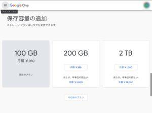 Google One 保存容量追加