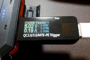COOWOOのUSB電流電圧テスター チェッカー 表示内容