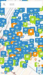 タウンWiFi マップで表示