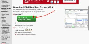 FileZilla Mac ダウンロードボタン