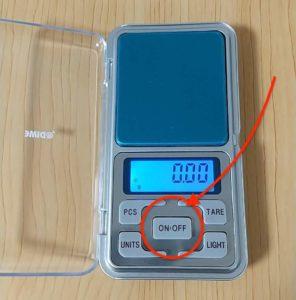 デジタルポケットスケール 電源ボタン