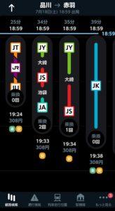 JR東日本アプリ 経路情報