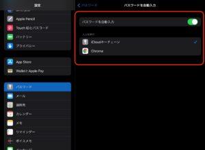iPad設定パスワード 自動入力