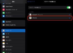 iPad設定パスワード Chrome許可