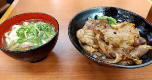 ヤマキ商店 カルビ焼肉丼+肉うどん